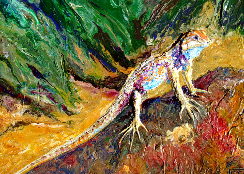 Abstract Relief Art of Spiny Lizard - Desert Resident