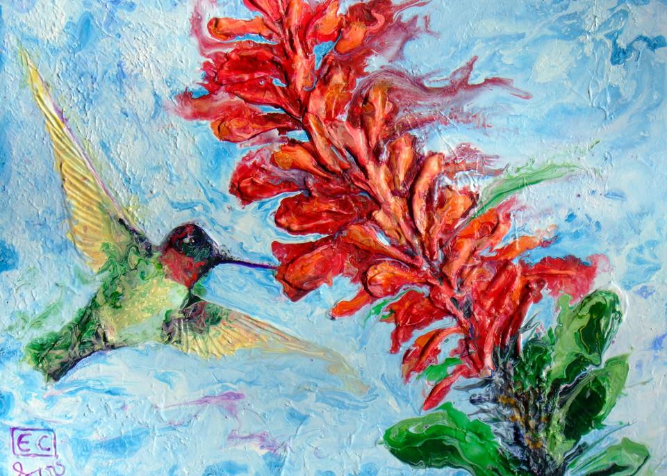 Abstract Relief Art of Hummingbird