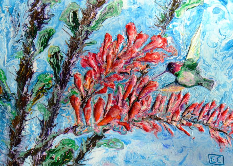 Abstract Hummingbird Art - Flicker & Ocotillo