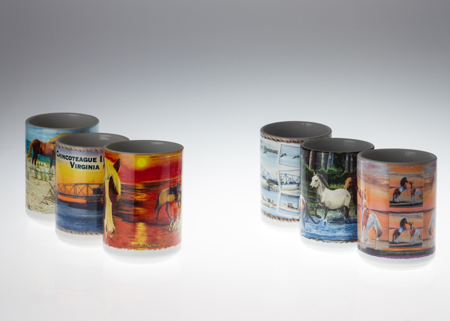 Pony Penning Mugs Of Chincoteague Art | http://www.michaelpucciarelli.com