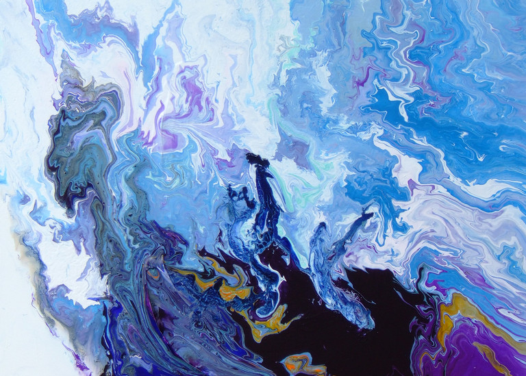 Abstract Acrylic Painting of Blue Ocean Wave, Bounteous