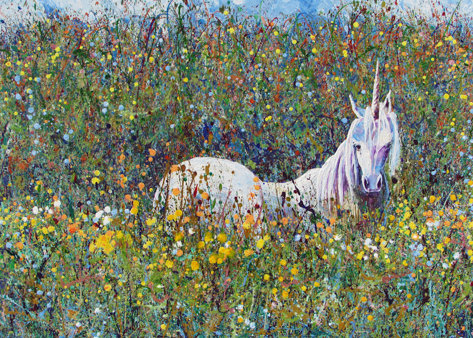 Abstract Painting of Unicorn - Haven by En Chuen Soo