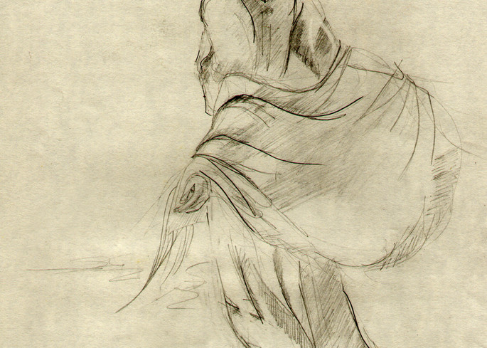 Sepia Woman Figurative Art Print