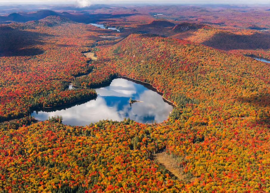 Moss Lake Fall Aerial Adirondack Photograph