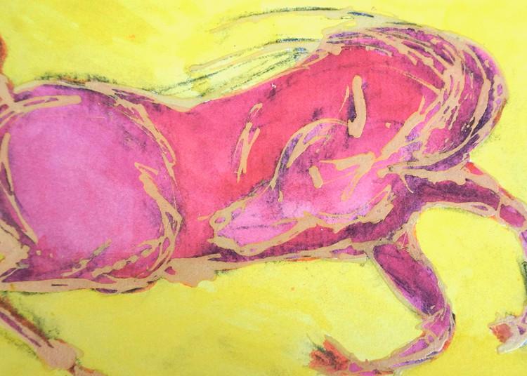 Pink Horse, Yellow Sky Art | Pam White Art