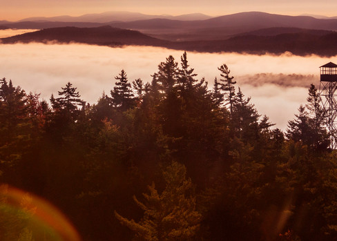 Early Morning Bald Mt Fire Tower Aerial Photography Art | Kurt Gardner Photogarphy Gallery