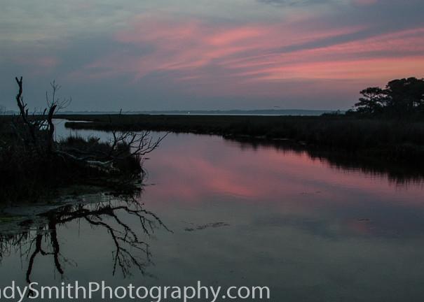 fine art photograph of dusk over the marsh at Assateague