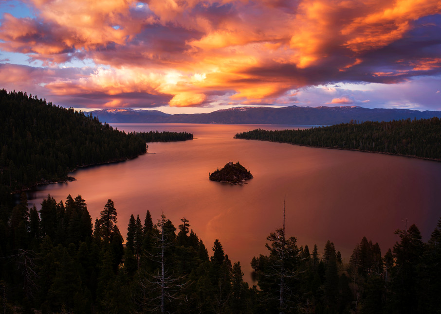 Emerald Bay Fire - Lake Tahoe Sunset print by Brad Scott