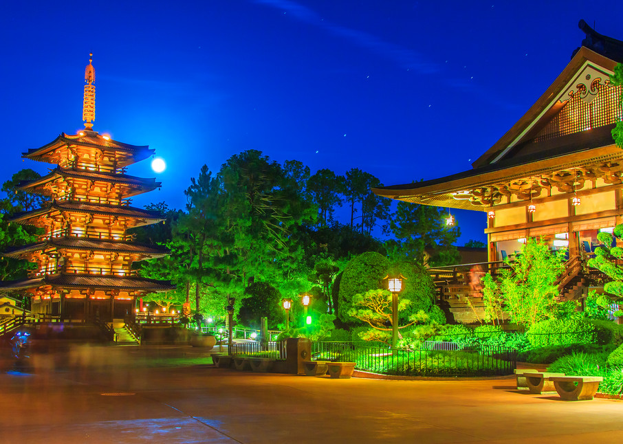 Japan Pavilion and the Full Moon - Disney Framed Art | William Drew Photography