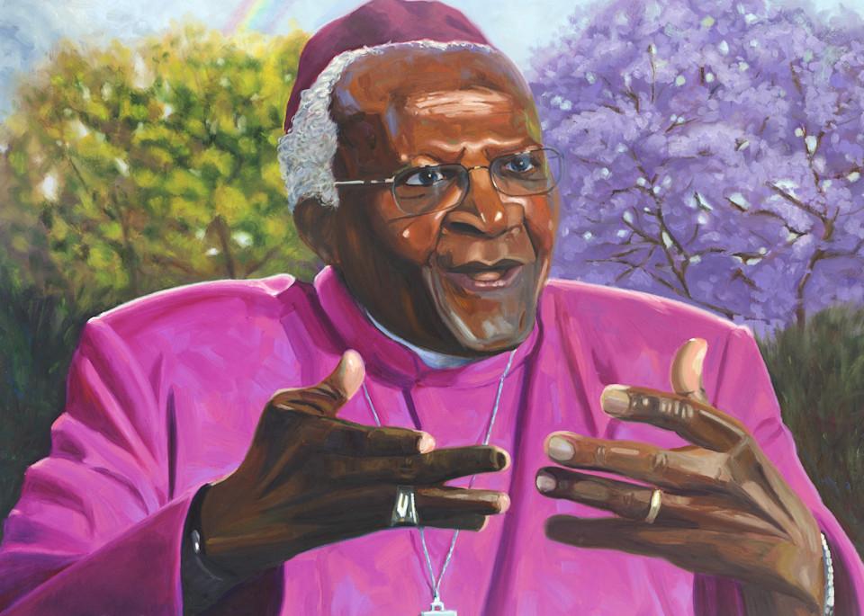 Oil painting portrait of Desmond Tutu by Steve Simon