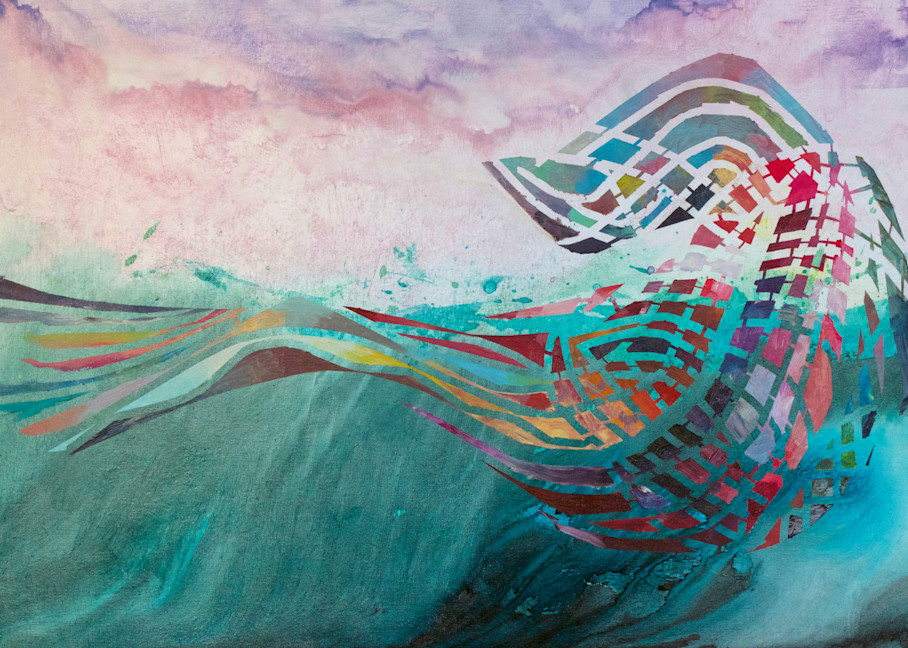 Breach Abstract Whale Painting by Wet Paint NYC Artist Michael Serafino