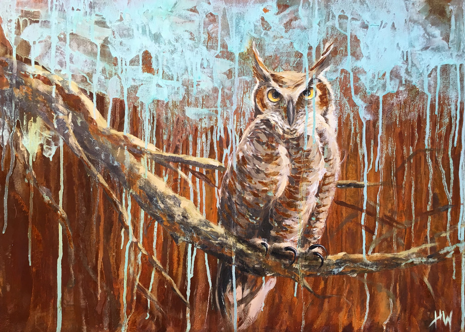 Owl on branch painting, great horned owl, owl art, abstract
