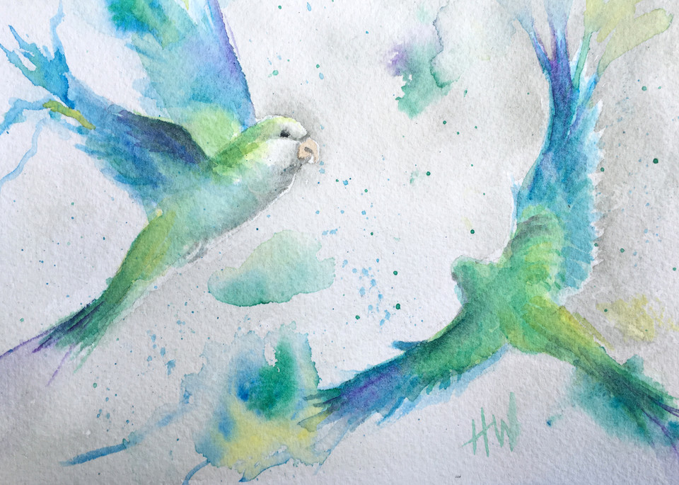 Whimsical Parakeets watercolor painting for sale