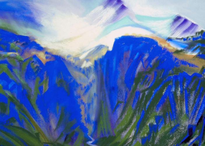 landscape painting mt hood sandy glacier