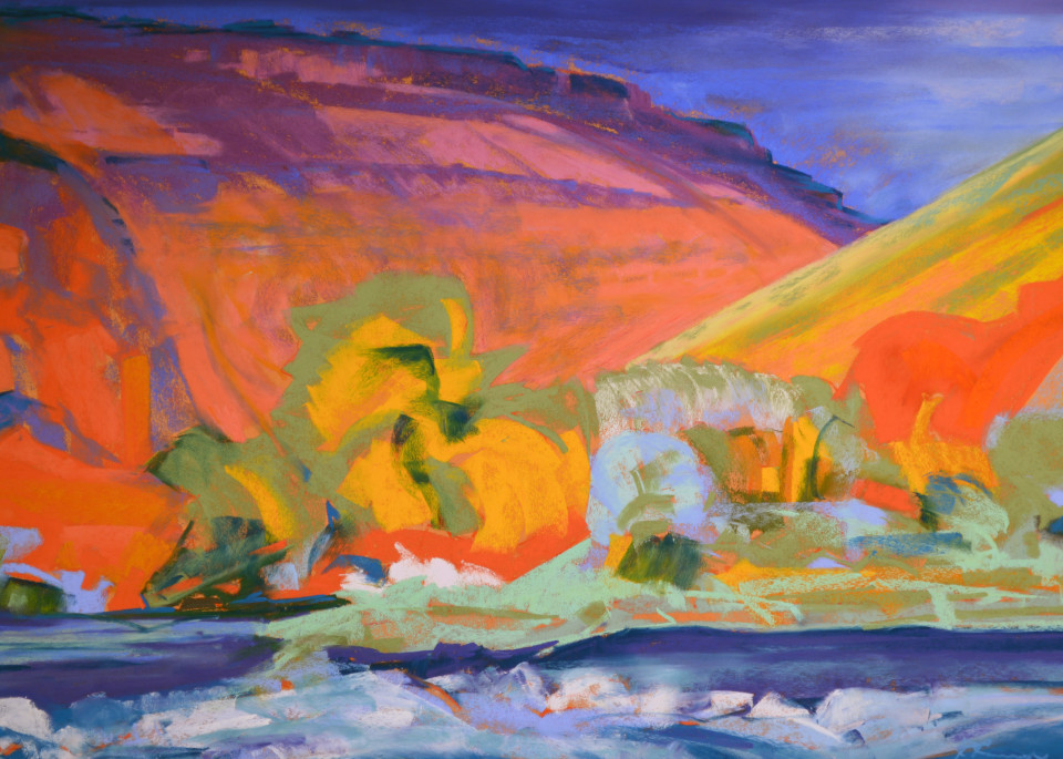 landscape painting deschutes river maupin, or
