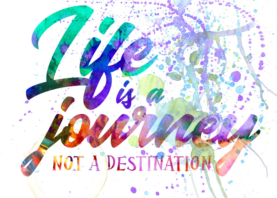 Life is a Journey on White  | Typography Inspirational Art Quote