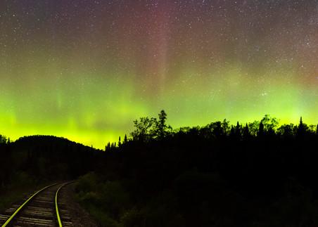 Northern Light Adk Train Tracks Photography Art | Kurt Gardner Photogarphy Gallery