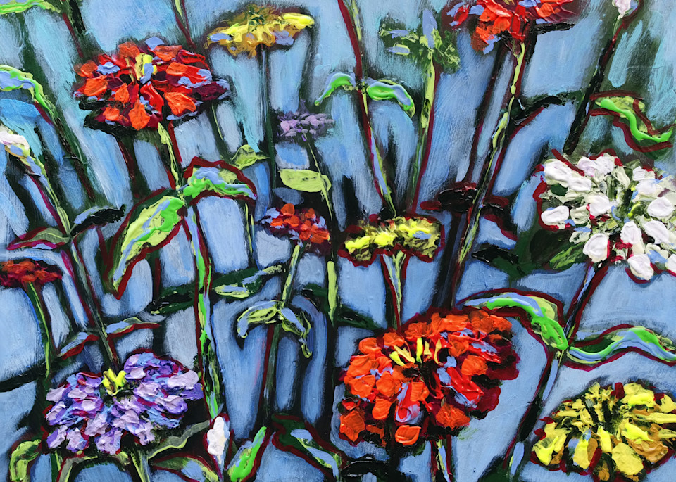 Let Freedom Spring Zinnias on Blue | Fine Art Painting Print by Rick Osborn