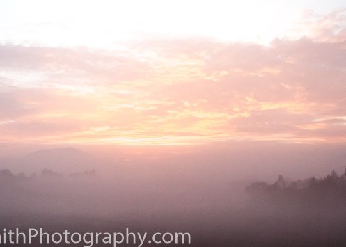 fine art photograph of sunrise through the mist at Mission Mazahua