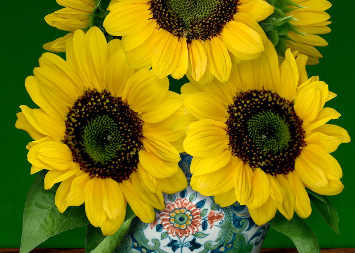 Sunflowers in a Makkum Pot, a still life. Homage to van Gogh, wall art. A print of an original painting by the artist, Mary Ahern.
