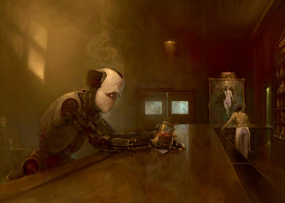 "Burton Gray's ""NORM,""sad, mouthless robot at a bar."