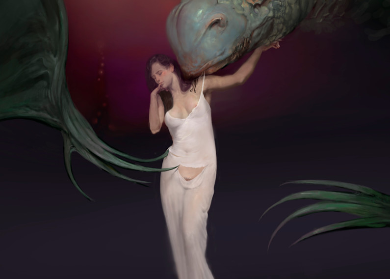 """BEAUTY BEAST,"" by Burton Gray, Dragon seduces maiden."