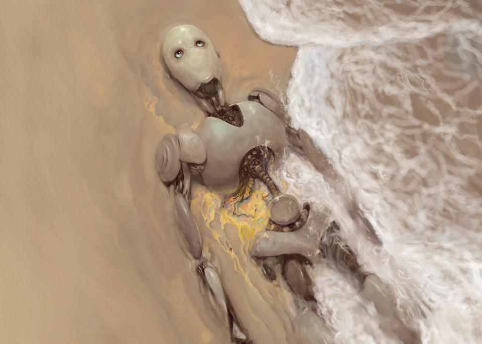 "Burton Gray's ""TRANSITIONS,"" sad robot dying on the beach."