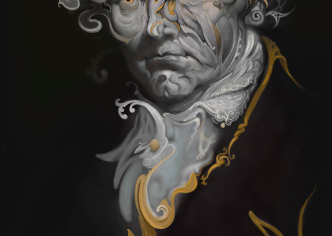 """""""LUDWIG,"""" by Burton Gray - Surreal Beethoven painting."""