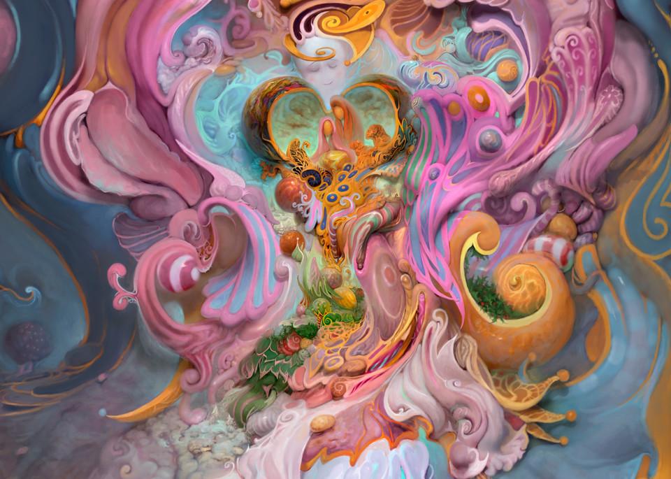 """CHRISTMAS FANTASIA,"" by Burton Gray, pink surreal painting"