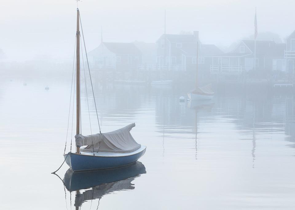 """Nantucket Harbor Foggy Dawn"" - Fine Art Boats in Fog Photography"
