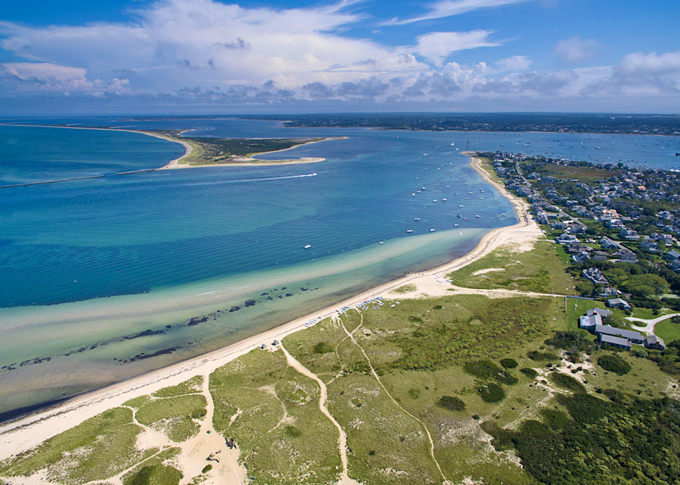 """Over Nantucket"" Fine Art Aerial Island Beach Photography"