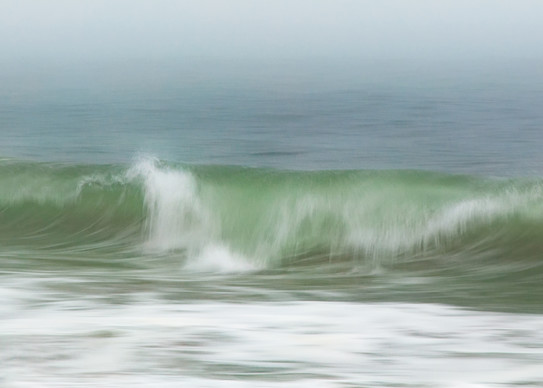 """Surfside Beach in Fog"" Panoramic Nantucket Ocean Photography"