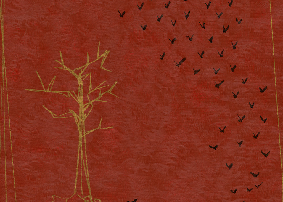 Crows fly away from a gold tree on a red ground.