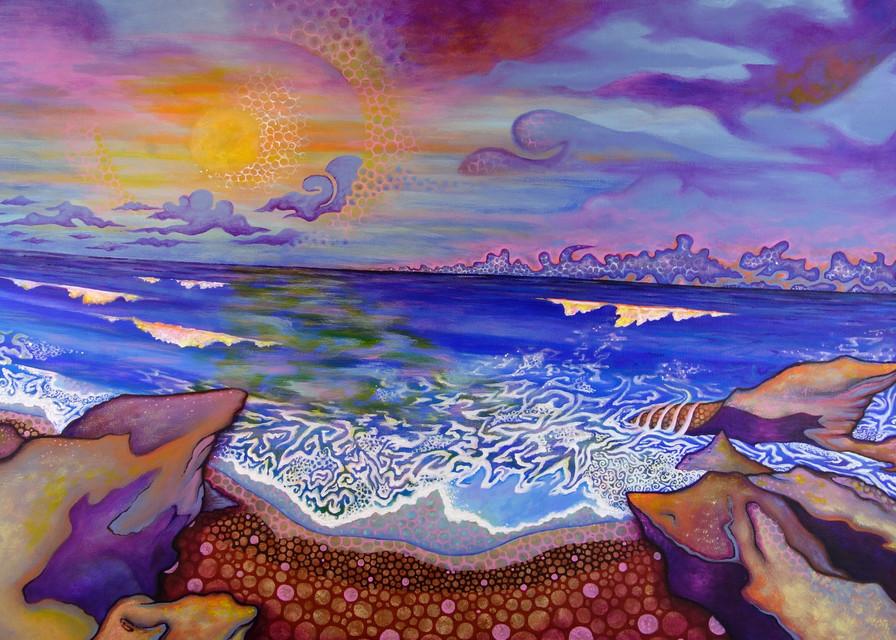 sunset painting ocean beach