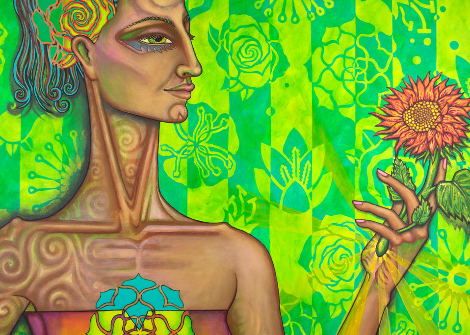 Self-refection art portrait with green flowers