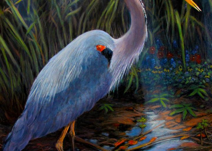 Great Blue Heron 30 X 40 Art | Charles Wallis