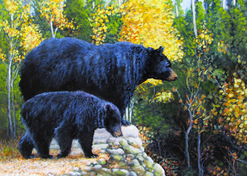 Black Bear And Cub Orig Art | Charles Wallis
