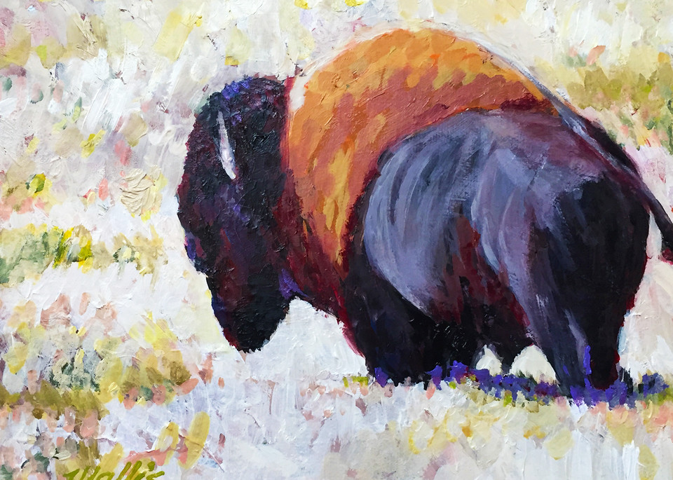 Buffalo On Winter Plains Art | Charles Wallis