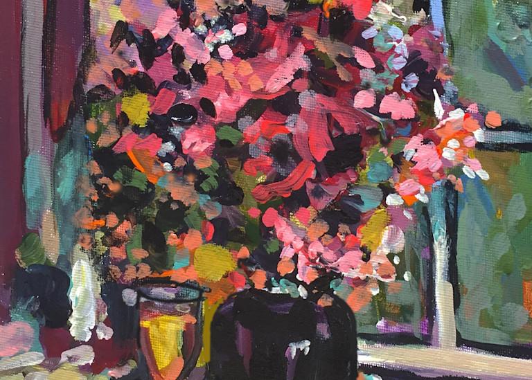 Still L Ife In Black Vase  Art | Charles Wallis