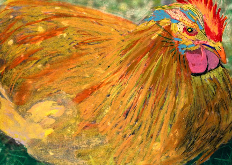 Sitting Chicken Art | Pam White Art