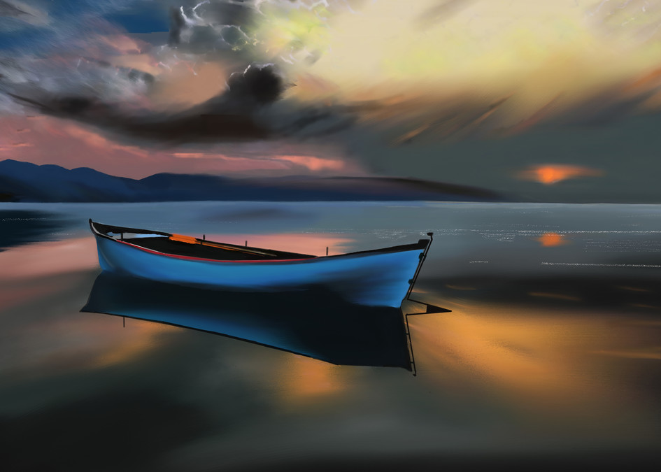 Boat At Sunset Art   Dave Fox Studios