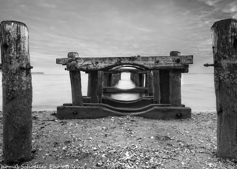 The Old Piers along Silver Sands Beach in Milford CT/purchase beautiful B&W fine art prints by Thom Schoeller