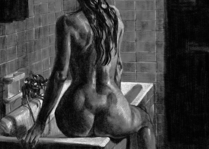 """Digital drawing by Eric Wallis titled, """"Bather and Tub."""""""