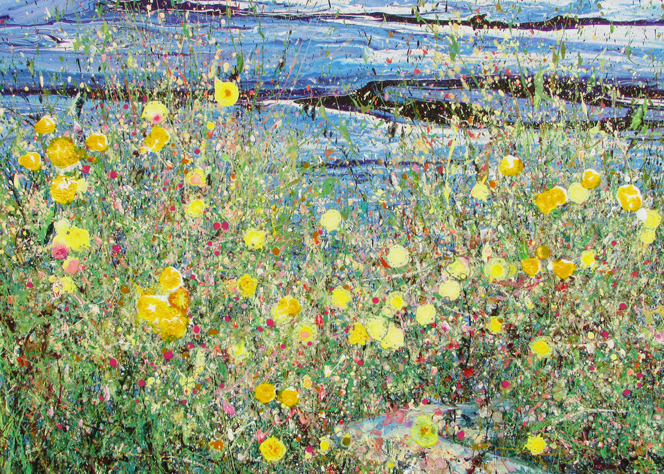 Sweet Gathering, Abstract Wildflowers Painting