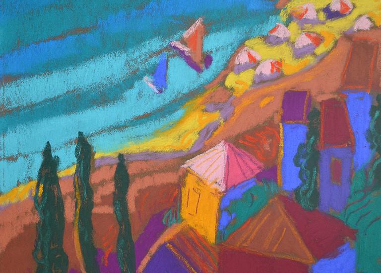 Cinque Terre Sailboats Art Print, Pastel by Dorothy Fagan