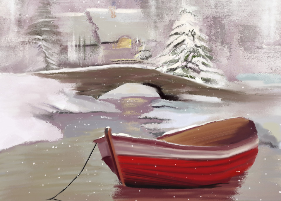 Christmas Village Boat Art | Dave Fox Studios