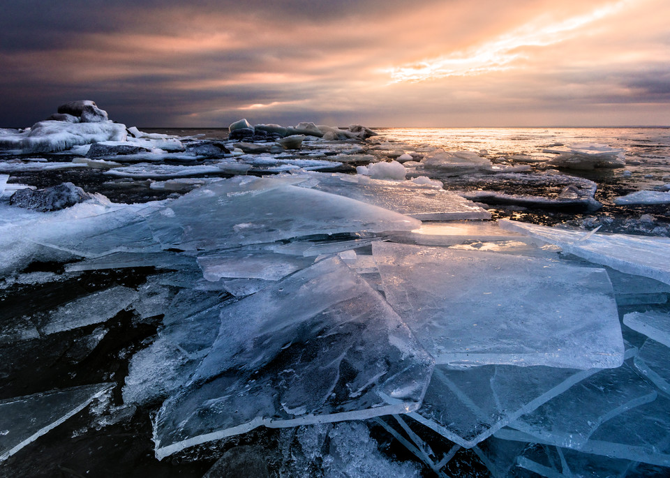 Shattered Ice along Lake Superior at sunrise in Duluth, MN