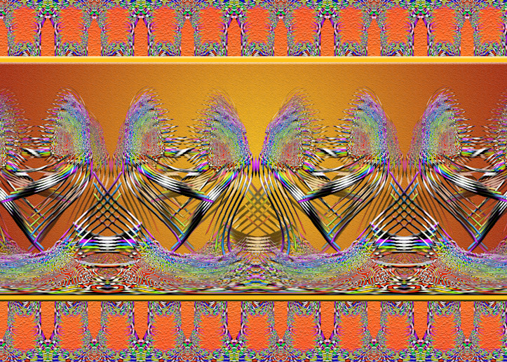 Sonoran Dancers print of photographs of wildflowers and a Sonoran Mountain Kingsnake transformed into digital art for sale by Maureen Wilks