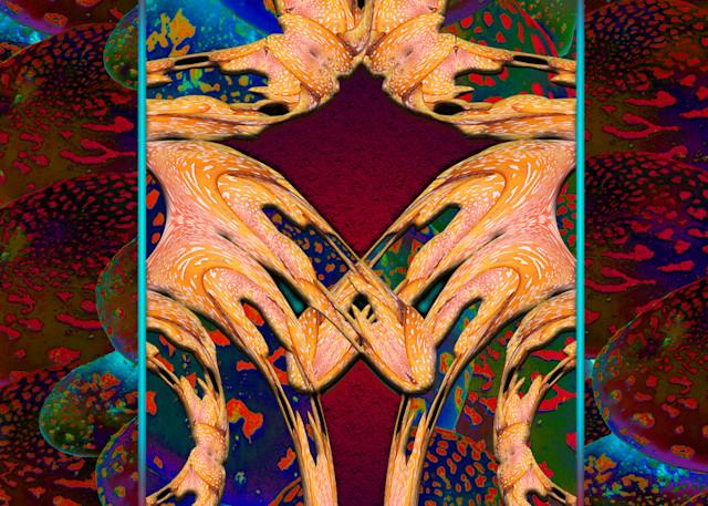 Amanita Kiss print of photograph transformed into digital art for sale by Maureen Wilks