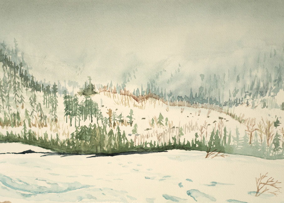 Mountain Mist in the Chic Chocs Ski Art for Sale